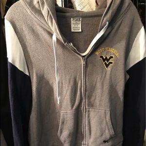 PINK WVU zip up hoodie